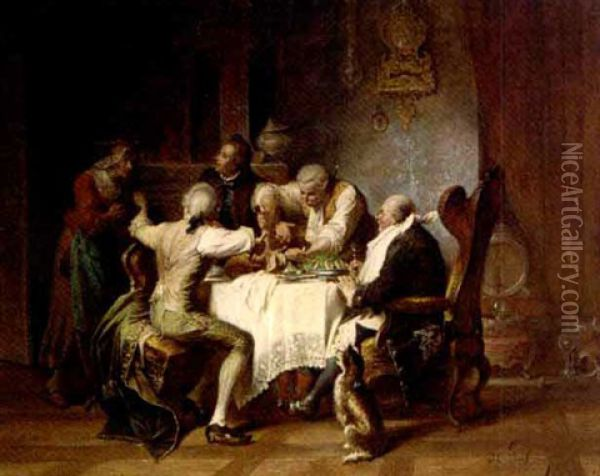 The Hearty Meal Oil Painting - Jakob Emanuel Gaisser