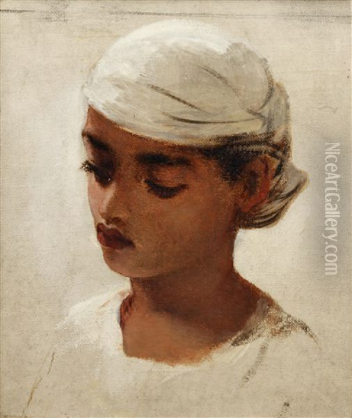 Head Of A Young Mulatto Girl Oil Painting - Robert Gavin