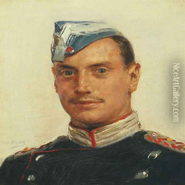 Crown Prince Christian In The Royal Danish Guards Uniform Oil Painting - Otto Bache