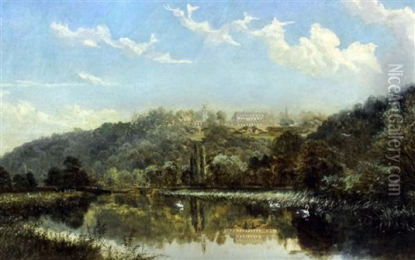 View Of Cliveden From The River Thames Oil Painting - Alfred Augustus Glendening Sr.