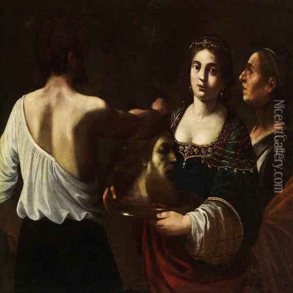 Salome With The Head Of St.john The Baptist Oil Painting - Giovanni Baglione