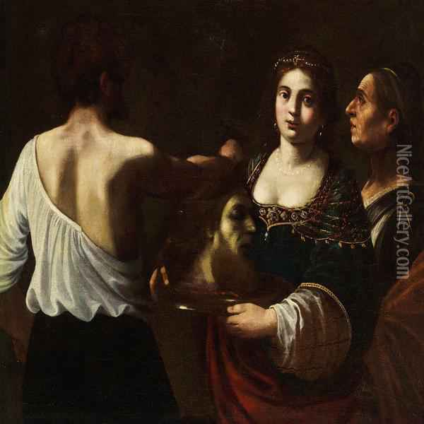 Salome With The Head Of St. John The Baptist Oil Painting - Giovanni Baglione