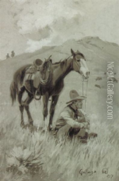 In The Shadow Of His Horse Oil Painting - Elling William Gollings