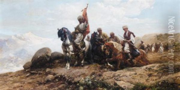 Cossacks Gathering For The Hunt Oil Painting - Michael Gorstkin-Wywiorski