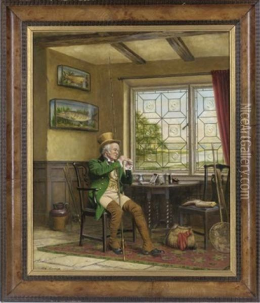 Tying A Fly Oil Painting - Alfred Lyndon Grace