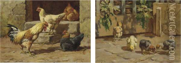 A Group Of Poultry Oil Painting - William Baptiste Baird