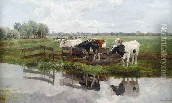 Gazing Land Withcattle In Front Of A Town Silhouette. Oil Painting - Hermann Baisch