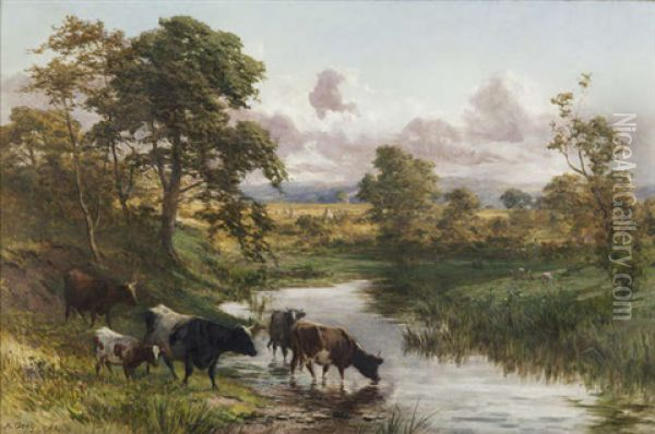 Cattle Watering In A River Landscape Oil Painting - Alfred Grey