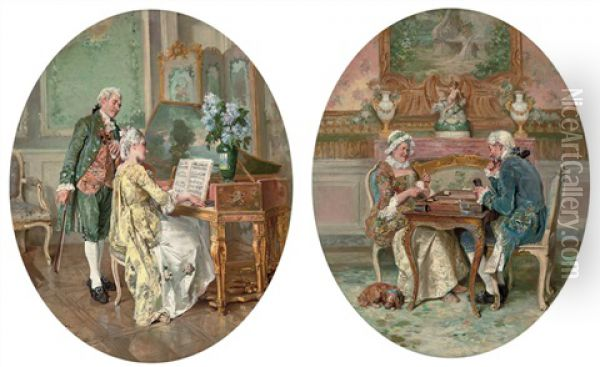 Music Practice (+ Backgammon; Pair) Oil Painting - Francois Adolphe Grison