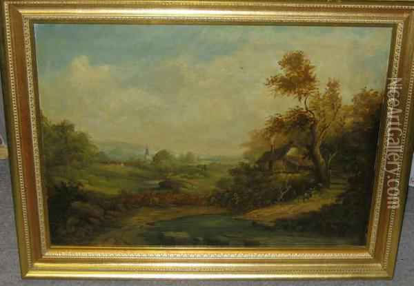 Rolling Landscape With Cottage In Foreground And Distant Steeple Oil Painting - Charles Baker