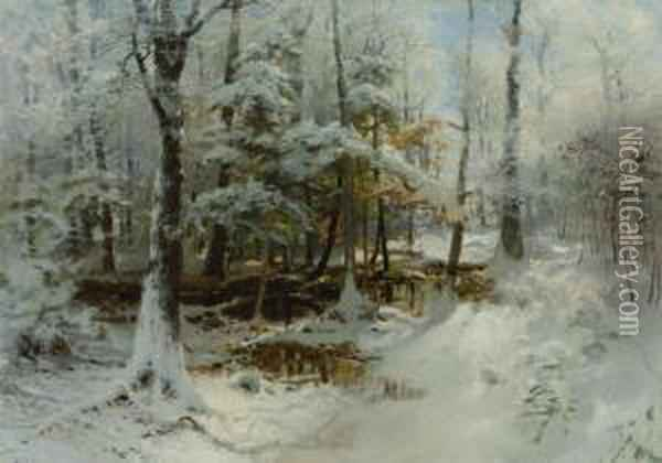 Quiet Winter Afternoon Oil Painting - William Bliss Baker