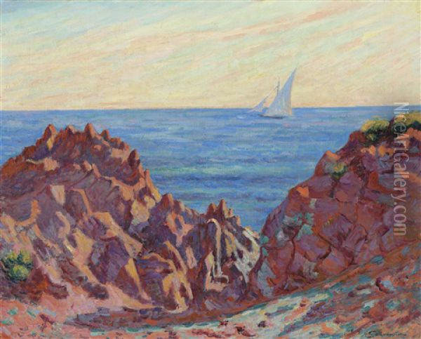 Voilier A Agay Oil Painting - Armand Guillaumin