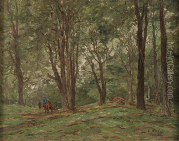 Two Horseback Riders On Wooded Path Oil Painting - Georg Hacker