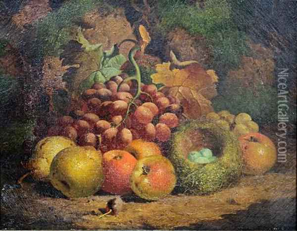 Still Life Of Fruit, And A Birds Nest Oil Painting - Charles Thomas Bale