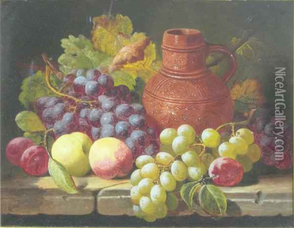 Still Life With Terracotta Jug Oil Painting - Charles Thomas Bale