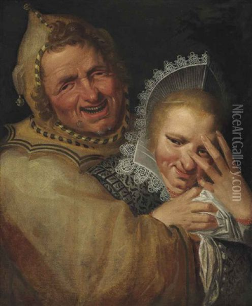 A Jester Embracing A Young Woman Oil Painting - Frans Hals