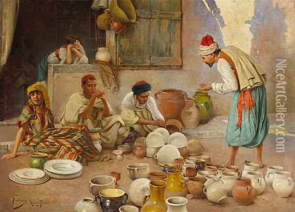 A Potter Selling His Wares Oil Painting - Francesco Ballesio