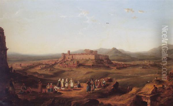 Athens From The Museum Hill Oil Painting - Richard Bankes Harraden