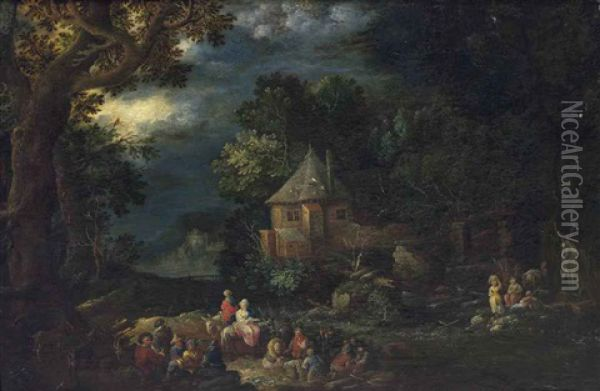 A Wooded River Landscape With Travelers On A Path, A Town Beyond Oil Painting - Johann Joseph Hartmann