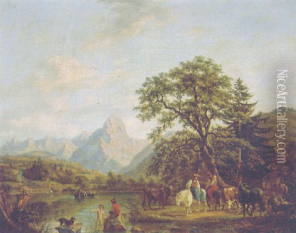 A Shepherdess On A Pony Watching Cattle, Sheep And Goats With Travellers And Bathers Nearby In An Alpine Landscape In Summer Oil Painting - Johann Joseph Hartmann