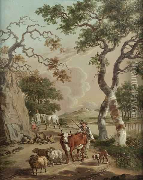 A Shepherd And His Flock On A Country Path With A Couple In A Wagon Approaching; And A Drover With A Bull, Sheep And A Ram On A Country Path Oil Painting - Pieter Bartholomeusz. Barbiers IV