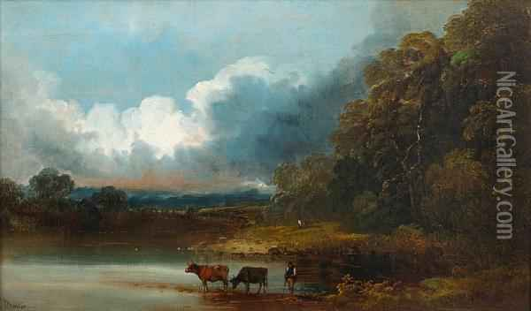 River Landscape With Cattle Watering Oil Painting - John Joseph Barker Of Bath