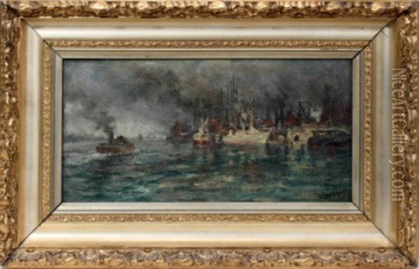 Detroit River Oil Painting - Robert B. Hopkin
