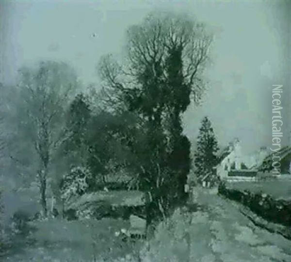 A Lochside Road; A Vegetable Garden Oil Painting - George Houston