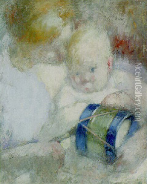 Mother And Child Oil Painting - Julia Beatrice How