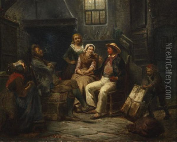 The Marriage Proposal Oil Painting - Carl Wilhelm Huebner
