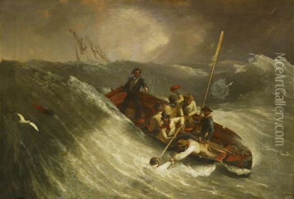 A Man Overboard Being Rescued By Crew In A Ship's Cutter In High Seas Oil Painting - William John Huggins