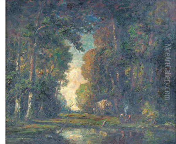 Landscape With Figures In A Forest Interior Oil Painting - Frederick Leo Hunter