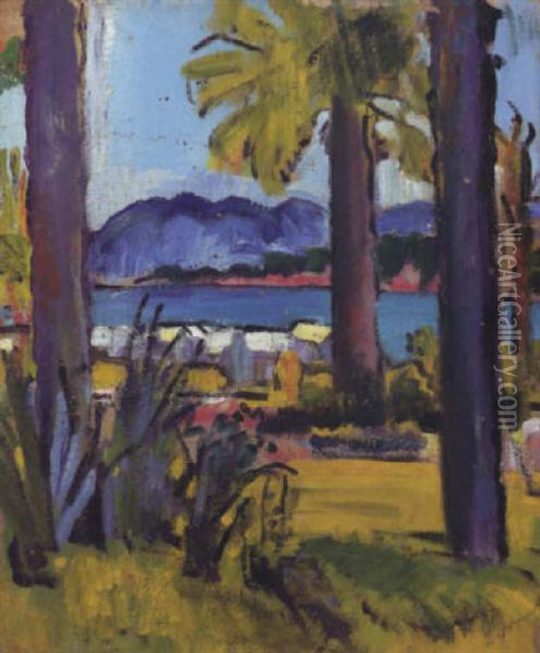 A View In The Cote D'azur Oil Painting - George Leslie Hunter