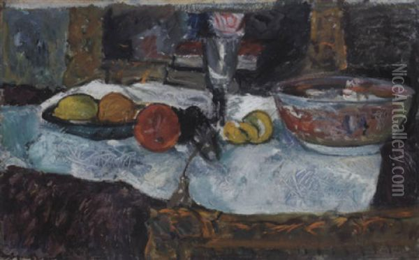 Still Life With Fruit And A Chinese Bowl On A Table Oil Painting - George Leslie Hunter