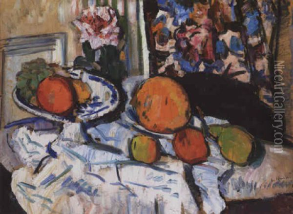 Still Life With Fruit And Flowers On A White Cloth Oil Painting - George Leslie Hunter