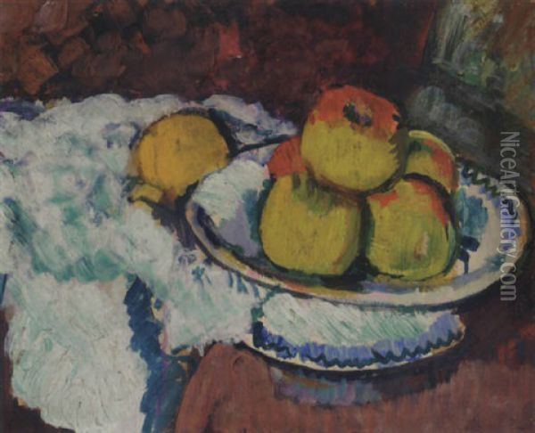 Still Life With Apples On A Fruit Stand Oil Painting - George Leslie Hunter