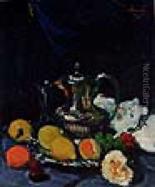 Still Life With Lemons, Grapes, Rose And Pewter Coffee Pot Oil Painting - George Leslie Hunter