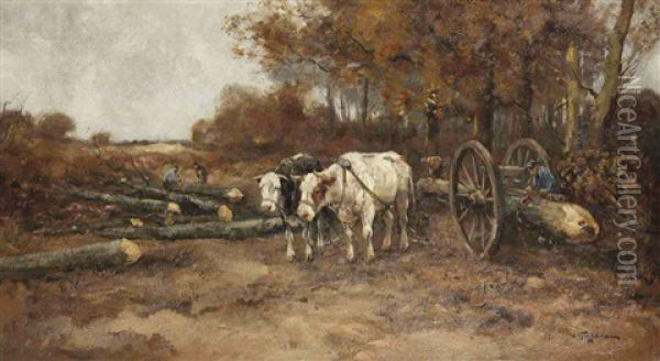Logging Oil Painting - Willem George Frederik Jansen