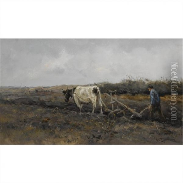 Ploughing The Fields Oil Painting - Willem George Frederik Jansen