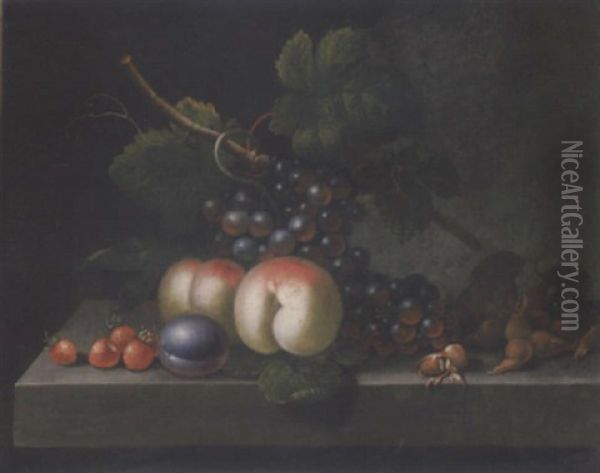 Peaches, Grapes, Strawberries, Cobb Nuts And A Plum On A Ledge Oil Painting - William Jones