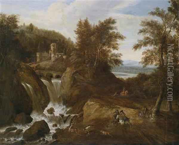 A Mountainous Landscape With A Waterfall And A Hunting Party Oil Painting - Gerrit Van Battem
