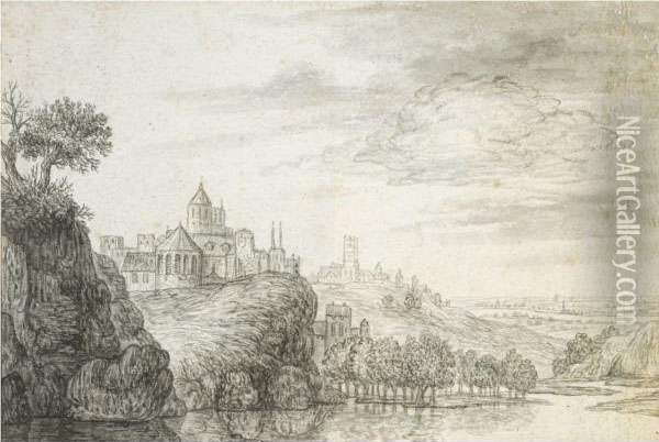 View Of A Town, With Church And Castle Buildings Above Ariver Oil Painting - Gerrit Van Battem