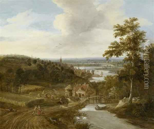River Landscape With Peasants And Travellers Oil Painting - Gerrit Van Battem