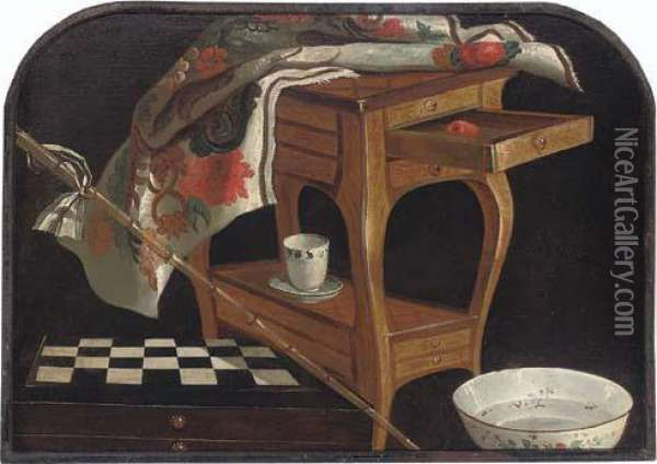 A Partly-draped Louis Xiv Occasional Table, A Chess Board, A Bamboo Cane And A Porcelain Cup And Bowl Oil Painting - Lubin Baugin