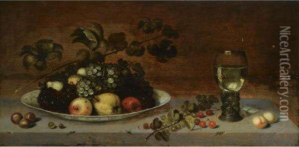 A Still Life With Grapes, Apples, A Quince And Pears On A Wan-li Porcelain Dish, Together With Medlars, Gooseberries, Cherries And Peaches, All On A Stone Ledge With A Roemer Oil Painting - Jan, Johannes Baumann