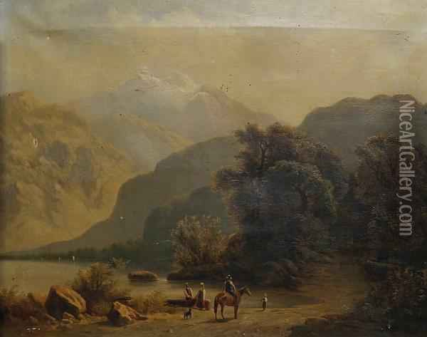 A Family On The Shore On A Mountain Lake Oil Painting - H. Baumgartner