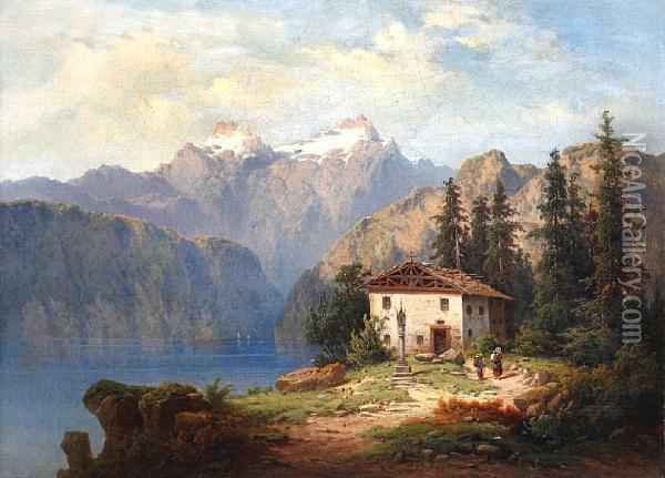 Alpine Lake Landscape With Figures Before A Cottage On A Bank Oil Painting - H. Baumgartner