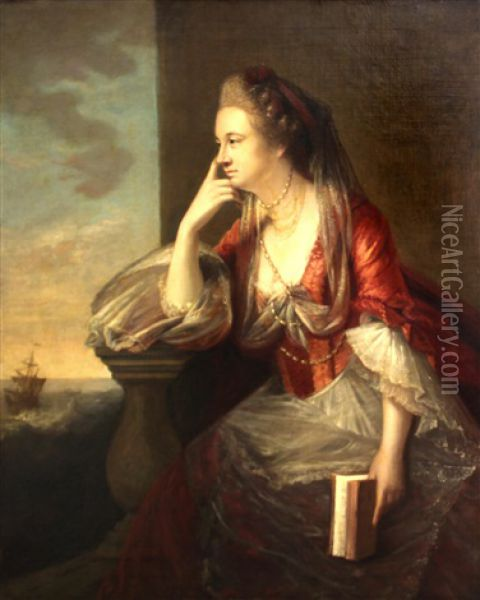 A Portrait Of A Lady, Thought To Be Maria, Duchess Of Gloucester, Three-quarter Length, Seated By A Balustrade, A Sailing Ship In The Distance Oil Painting - Tilly Kettle