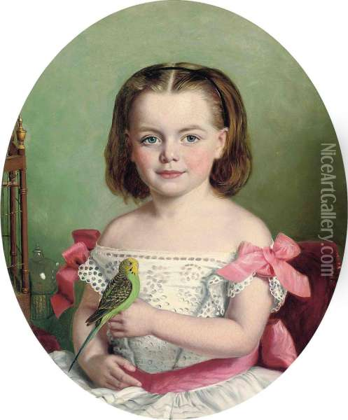 Portrait Of Mary Ann Maitland-wilson Of Greystone Towers, Three Quarter Length, In A White Dress With Red Ribbons, Holding Her Budgerigar Oil Painting - Charles Baxter