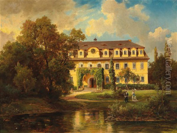View From A Garden To An Elegant Villa Oil Painting - Alois Kirnig